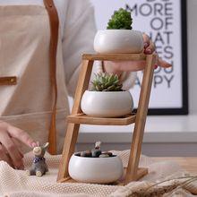 1 Set Moderne Minimalistische Witte Keramische Bloempot Vetplant Pot 3 Bonsai Planters met 3-Tier Bamboe Plank Thuis Tuin Decor(China (Mainland))