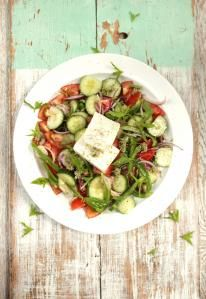 Gorgeous Greek salad- The classic way with juicy tomatoes, olives and crumbly feta. The key to this beautiful authentic Greek salad is bold flavours from super-fresh ingredients