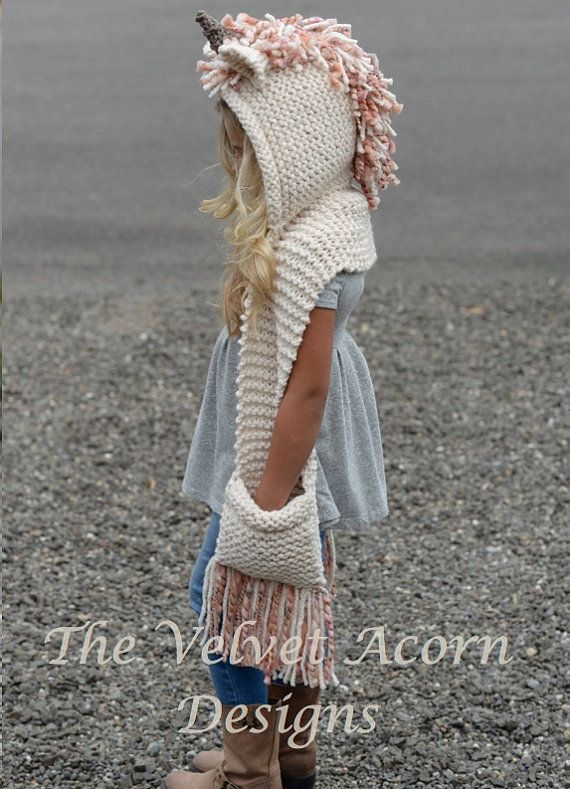 Knitting PATTERN-The Unice Unicorn Hooded Scarf von Thevelvetacorn