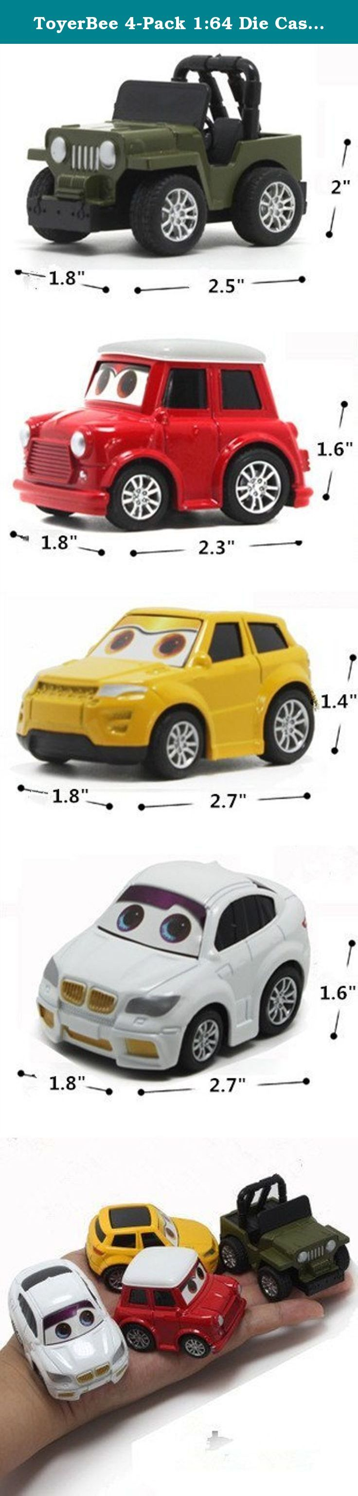 ToyerBee 4-Pack 1:64 Die Cast Cars Pull Back Racer Cars Toy Play Vehicle Set. How to play 1. Pull the car back on the floor, release and watch it racing across the room. 2. Idea for collecting. 3. Not only promotes fun and imagination, but also teaches your child about new areas for vehicles and so on.