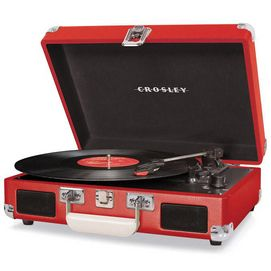 Relive simpler times with this portable turntable that plays 33 1/3, 45 and even 78 rpm records. Turntable folds into a small suitcase for easy transport. Plays 33 1⁄3, 45 and 78 rpm records Dynamic, full-range stereo speakers, 5-watt total output Headphone jack