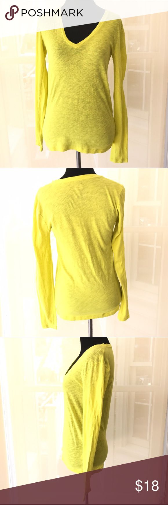 J CREW YELLOW LONG SLEEVE VINTAGE COTTON TOP SZ XS Good condition j crew yellow long sleeve top. Size XS. J. Crew Tops Tees - Long Sleeve