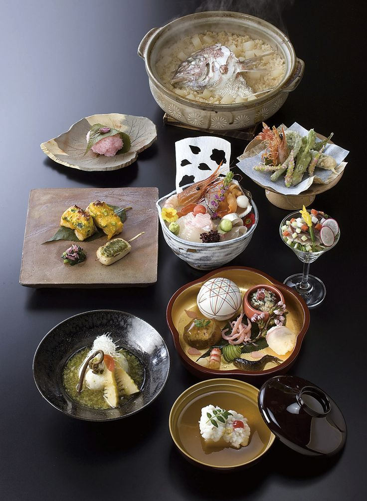 Japanese—the classic high-dining experience of kaiseki, shown here all at once, but typically served over the course of hours in carefully planned sequence