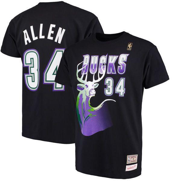 Ray Allen Milwaukee Bucks Mitchell & Ness Hardwood Classics Retro Name & Number T-Shirt - Black