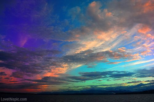 Colorful rainbow sky colorful blue sky sunset nature clouds