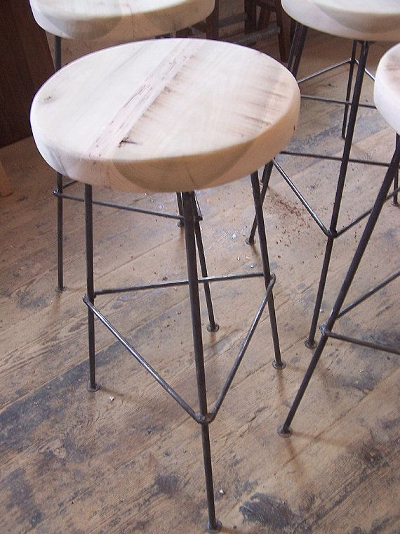 Reclaimed Wood Bar Stools with Metal Legs by  : bf7bf4ed8b50b2d81928da3f9c99e60f from pinterest.com size 570 x 760 jpeg 86kB
