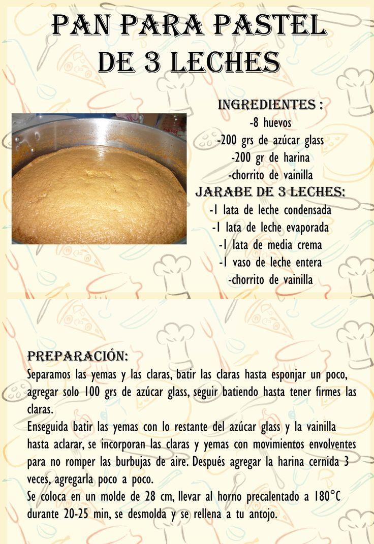 Pan para pastel de 3 leches