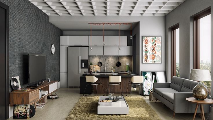 2-bachelor-pad-design- The textures in this masculine apartment are what really make it pop. From the ceiling to the shag rug, every surface is begging to be examined and touched.