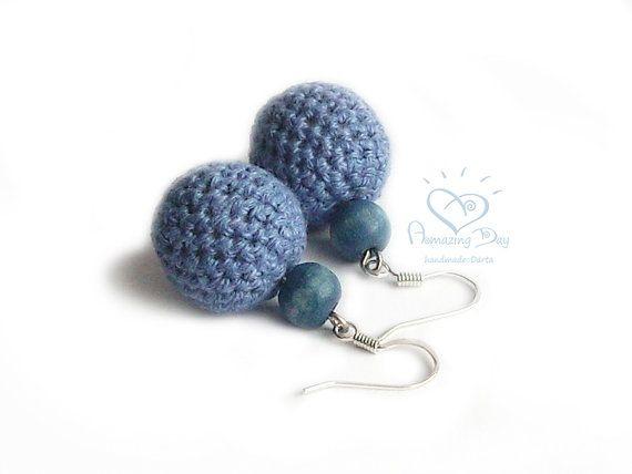 Blue LINEN EARRINGS Crochet Ball Dangle Earrings by AmazingDay,