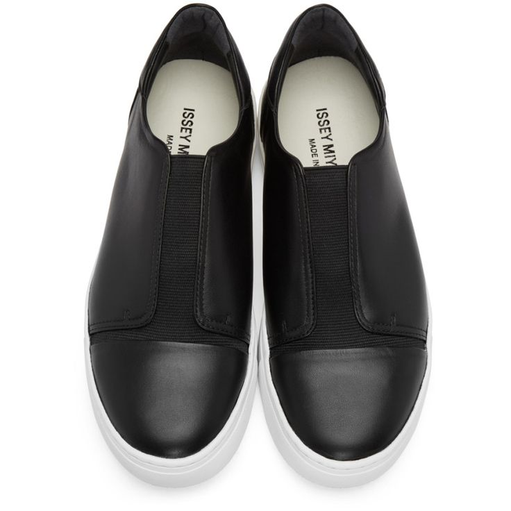 Issey Miyake Men - Black Leather Slip-On Sneakers