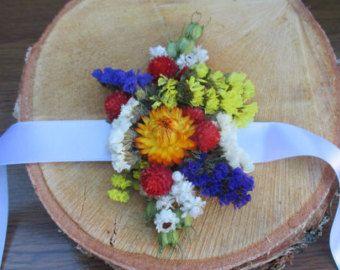 Ramillete de Dama de honor de la muñeca, pulsera de Dama de honor, ramillete de la muñeca de la novia, boda rústica, pulsera de flores secas, ramillete de flores secas de la muñeca