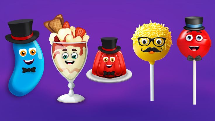 Jelly Bean, Ice Cream, Jelly, Cake Pop and Lollipop Finger Family Songs