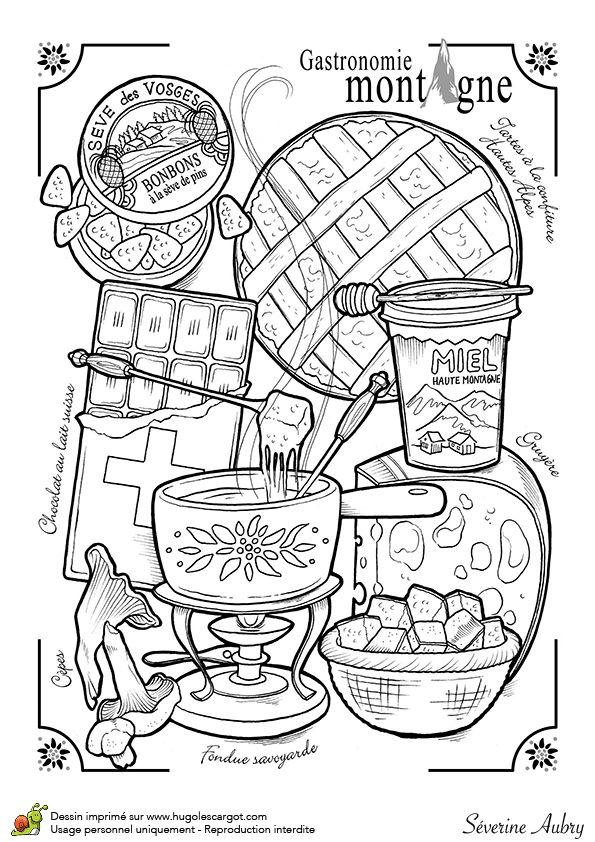 Dessin à colorier sur la gastronomie de la montagne - Hugolescargot.com