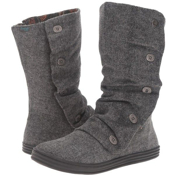 Blowfish Rammish (Grey Soft Herringbone Flannel) Women's Boots ($49) ❤ liked on Polyvore featuring shoes, boots, mid-calf boots, synthetic boots, gray fold over boots, gray boots, side zipper boots and mid calf boots