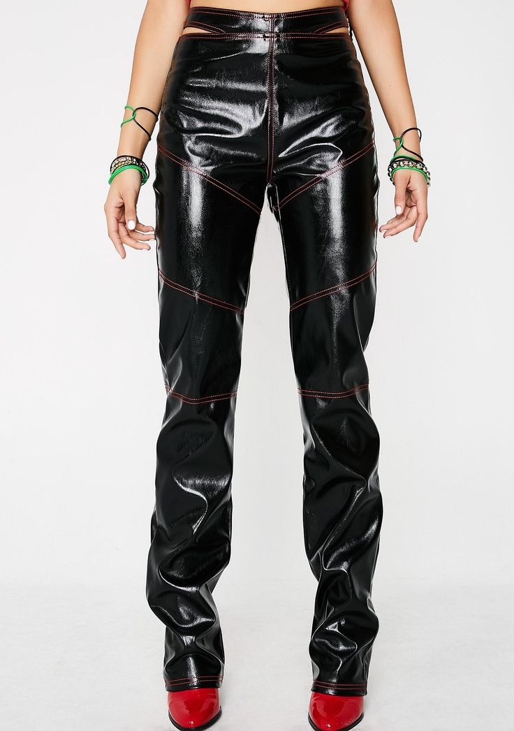 I AM GIA Paris Pants cuz you're a bad azz chic. Rebel yaself with this vinyl high waisted straight leg pants that have sikk af cutouts on the sides, red stitching all ova and a zip closure. #dollskill #IAMGIA #NewArrivals #leatherpants #black #redstriped #redseams