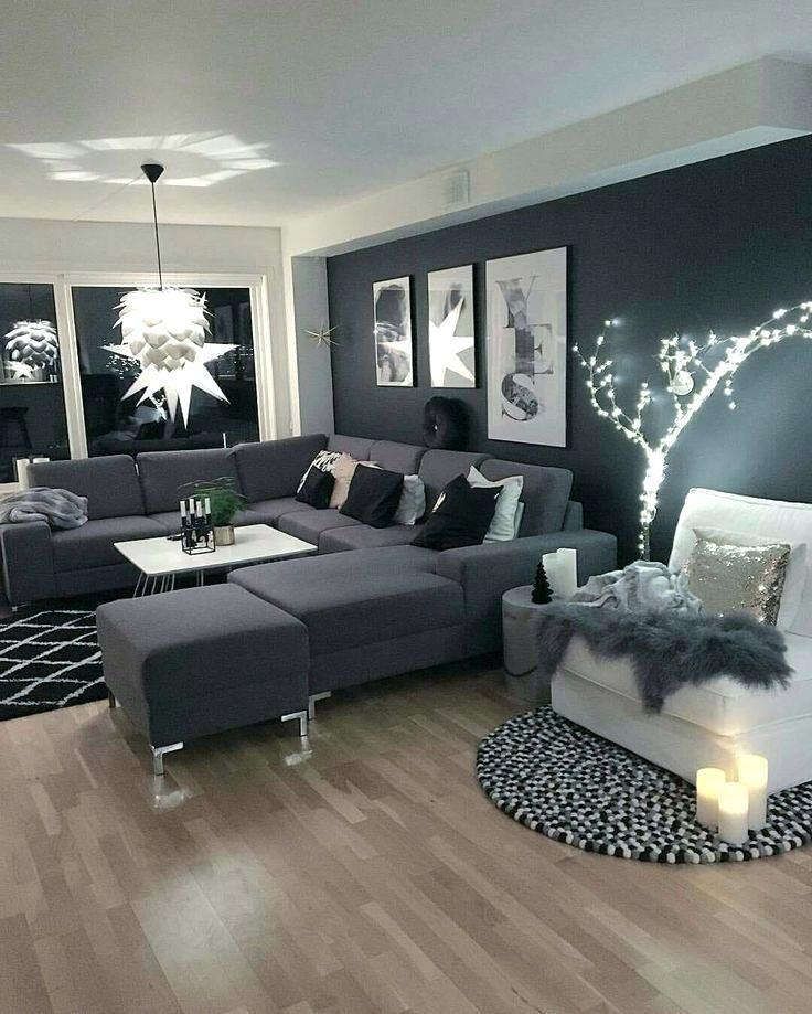 Schwarze Wohnzimmer Ideen Wand Kombinieren Braun Dunkle