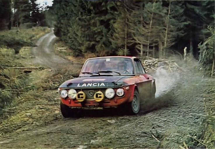 """The Lancia Fulvia HF 1.6 """"Fanalone""""...which loosely translates to """"big headlight"""".....(wink, wink)....in action at the 1970 RAC Rally (Lampinen - Davenport) ."""
