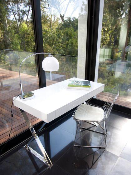 Pangea Home X Leg Writing Desk White Lacquer Polished