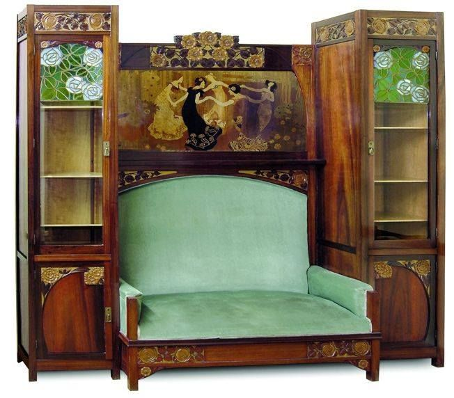 Art Nouveau - Meuble Sofa + Vitrine  - Gaspar Homar - 1903