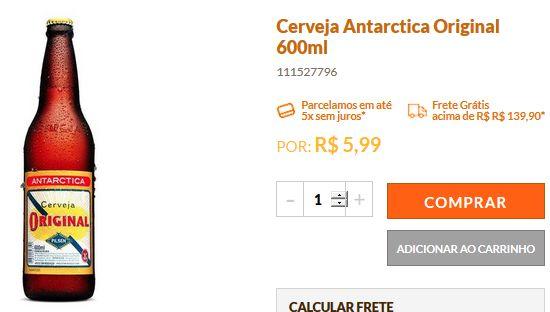 Cervejas Antarctica Original 600ml << R$ 376 >>