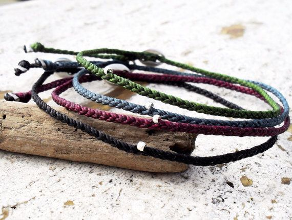 Beadstheater braided friendship bracelet in waxed cord mens bracelets