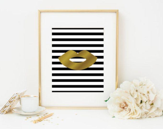 Gold Foil Lips with Black and White Stripes Home Decor, Gold Foil Wall Print, Fashion Wall Print, Fashion Home Decor