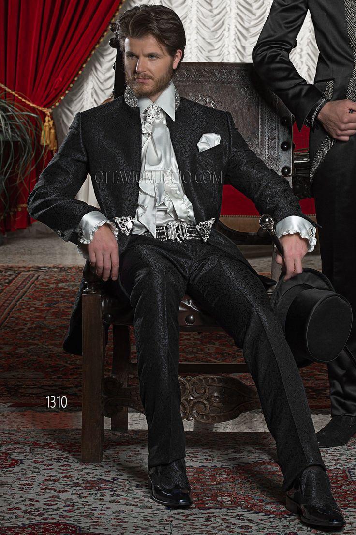 Abito da sposo uomo in tessuto damascato nero con passamaneria / Black Brocade Wedding Suits for groom with Trimming / Trajes de novio tejido adamascado negro con pasamanería