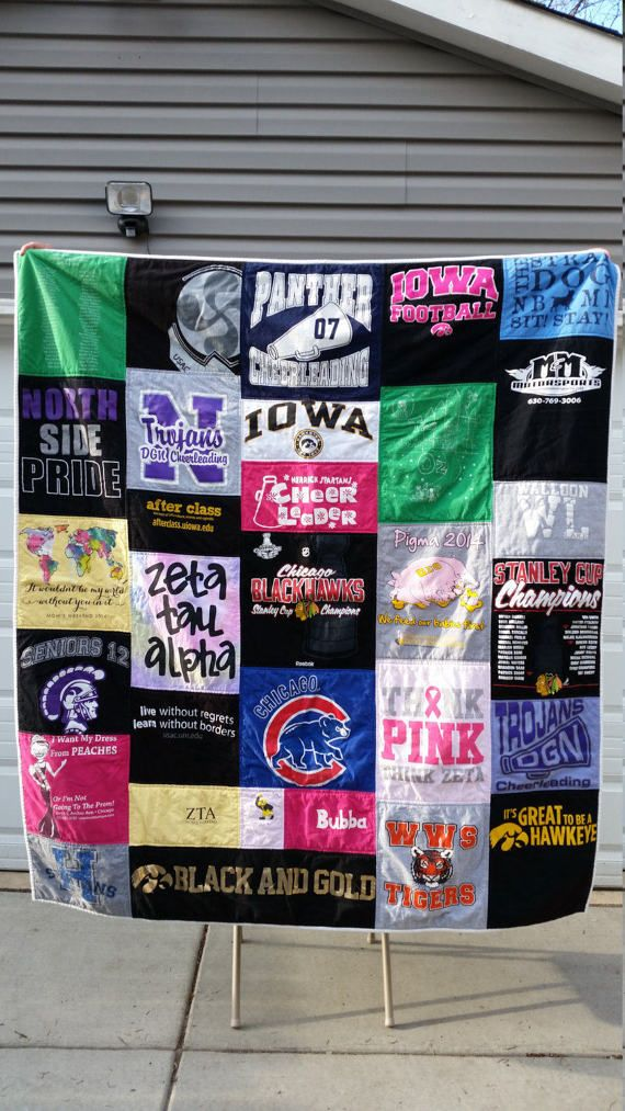 #mollyrosequilts #t-shirtquilts #tshirtquilts #memoryquilt Twin Size T-Shirt Quilt Custom Order by MollyRoseQuilts on Etsy