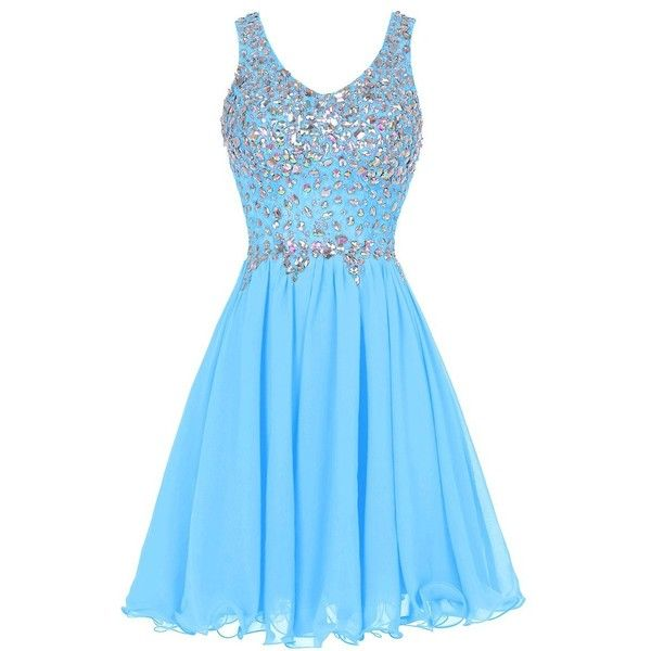 Tideclothes Chiffon Straps Prom Dress Short Beading Homecoming Party... (86 AUD) ❤ liked on Polyvore featuring dresses, beaded dress, blue dress, short cocktail prom dresses, prom dresses and beaded prom dresses