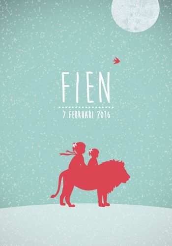 Geboortekaartje Fien - Pimpelpluis - https://www.facebook.com/pages/Pimpelpluis/188675421305550?ref=hl (# winter - sneeuw - meisje - grote zus - leeuw - maan  - dieren - silhouet - lief - origineel)