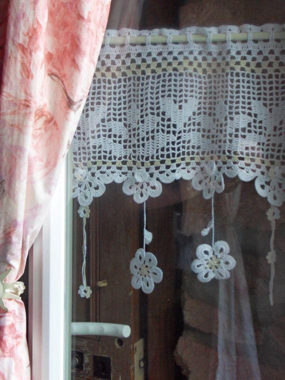 voilage d'autrefois fleurs au crochet d'art 38 de large