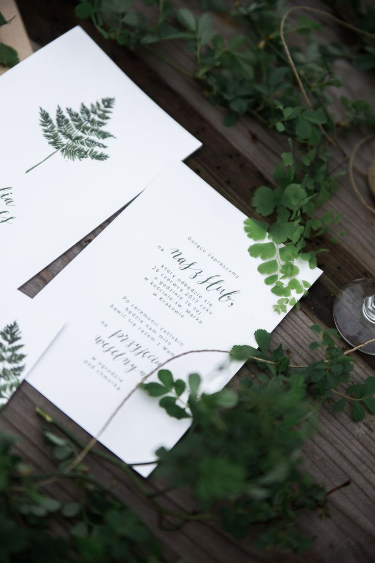 Botanical wedding fern invitations from loveprints.pl