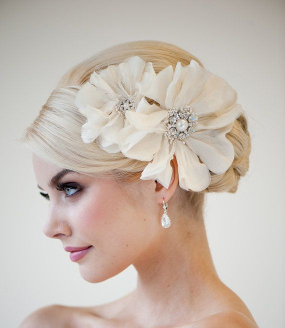 Bridal Head Piece, Bridal Fascinator, Wedding Hair Accessory, Bridal Flower Hairclip - Rhianna on Etsy, $99.00 CAD