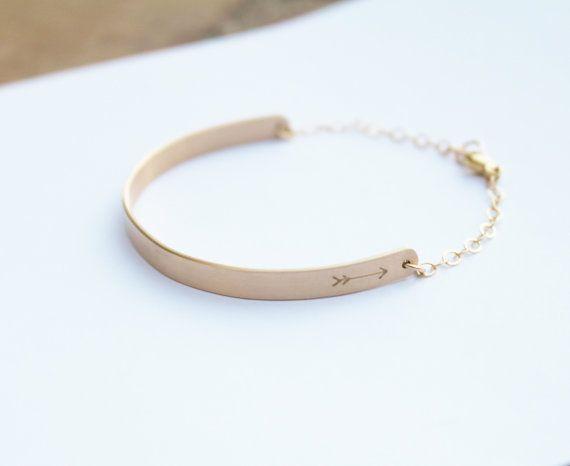 Gold Half Cuff Bracelet Gold Bar Bracelet by TheSilverWren on Etsy