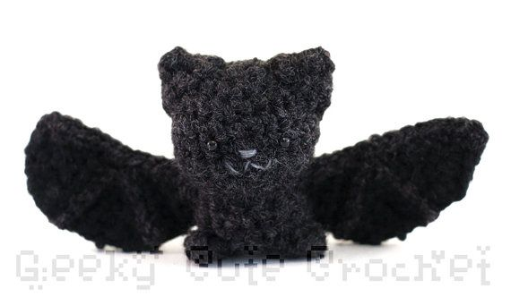 Silver Haired Bat Amigurumi Black Bat by GeekyCuteCrochet