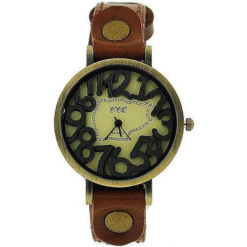 TOC Unisex Oxidised Metal Dancing Numbers Brown Strap Watch SW-775
