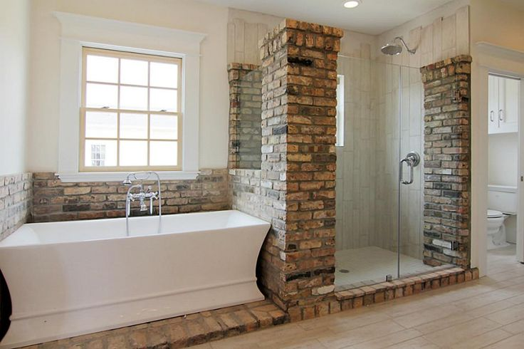Love This Bathroom With Brick And Wood Tiles In The Shower