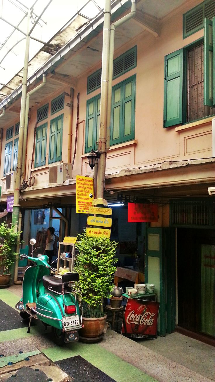Vintage shophouses near the Chao Phrya river in Bangkok - from one of our upcoming new walks through the Old City - walkinbangkok.com