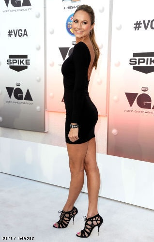 Stacy Keibler  ~ In A Black Low Back Mini W/A Pair Of Black Strappy Sandals...
