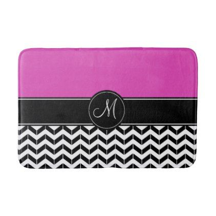 #Customizable Chevron Hot Pink Bathroom Mat - #Bathroom #Accessories #home #living