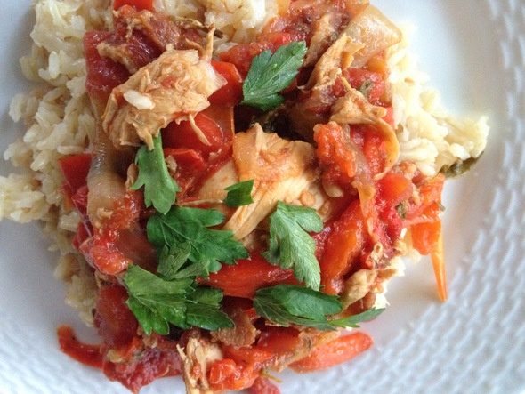 Romanesque chicken...Giada revisited on the Washington's Green Grocer blog.  Red peppers...bacon...yum