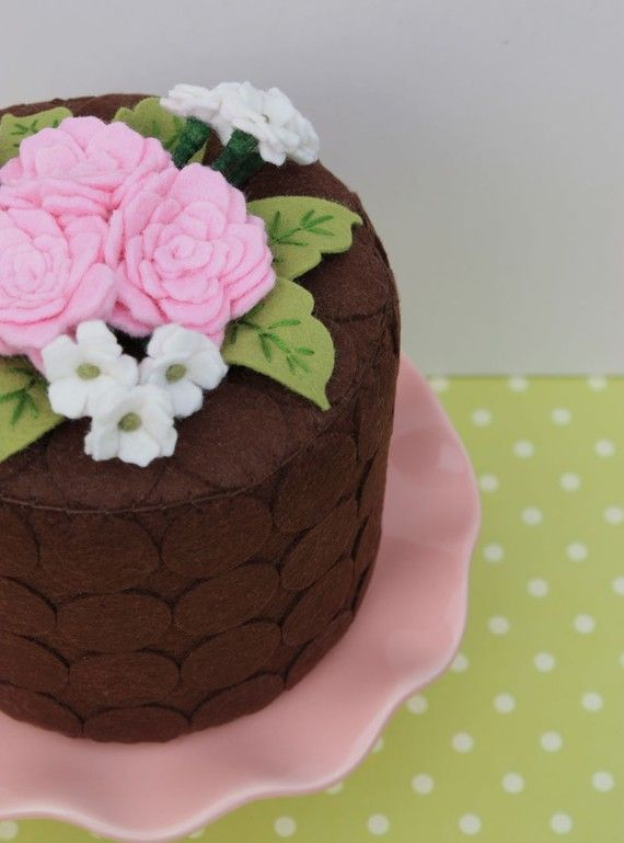 Felt Cake Chocolate Dots And Pink Summer Roses by ViviansKitchen, $135.00