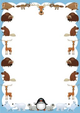 Walruses, yaks, deer, bears, penguins and other animals decorate this cute creature border. Free to download and print.