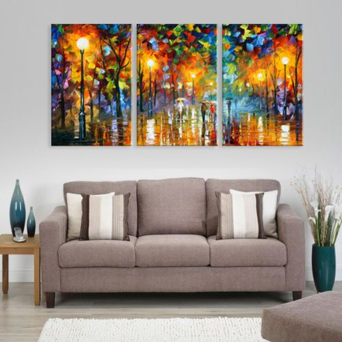 MODERN-ABSTRACT-CANVAS-ART-OIL-PAINTING-city-Scenery-with-Framed