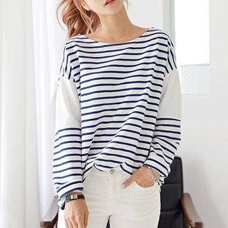 Buy DEEPNY Striped Long-Sleeved T-Shirt at YesStyle.com! Quality products at remarkable prices. FREE WORLDWIDE SHIPPING on orders over US$35.