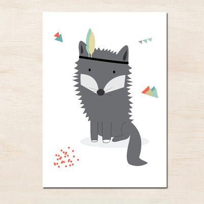 L'affiche Loup indien est idéale en décoration dans une chambre d'enfants. C'est un cadeau de naissance original.