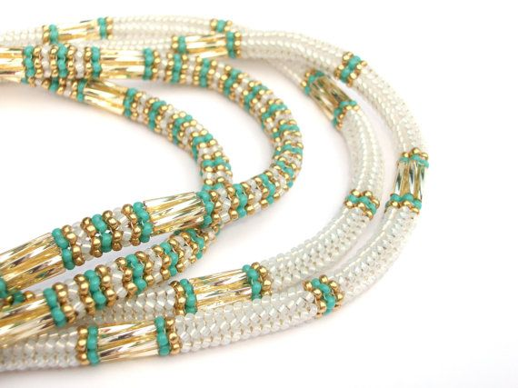 Herringbone Beaded Necklace - Love the color combo -  Turquoise Gold & White Opal