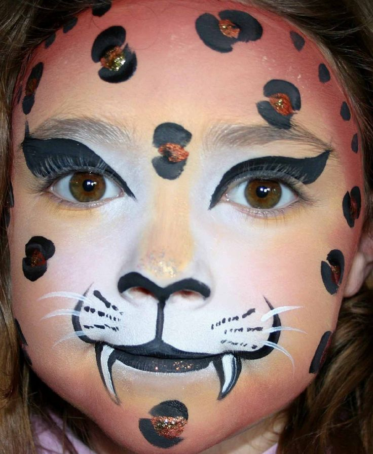 leopard face paint leopard face painted by professional face - Halloween Easy Face Painting