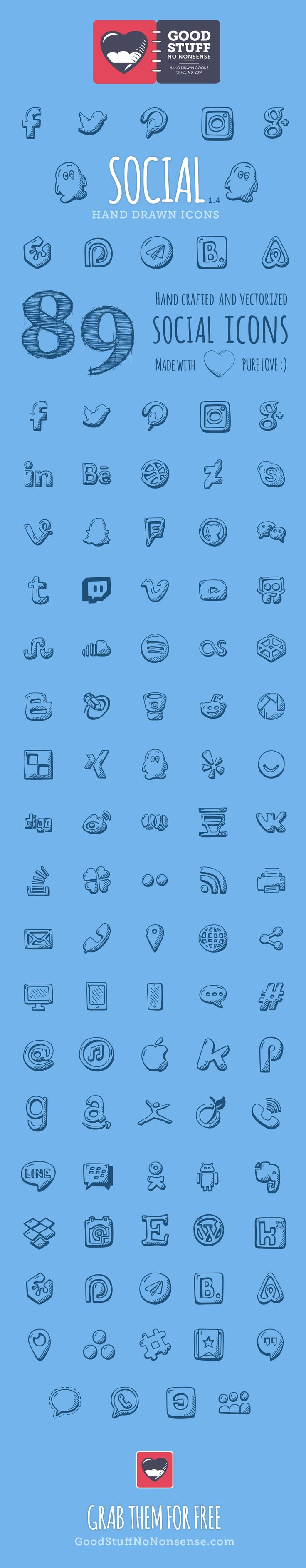 Social Media Icons made by @weboutloud  #icons #HandDrawnIcons #doodle #tinyart #etsy #scrapbooking #socialIcons #socialmediaicons #socialmedia #social #free #freebie