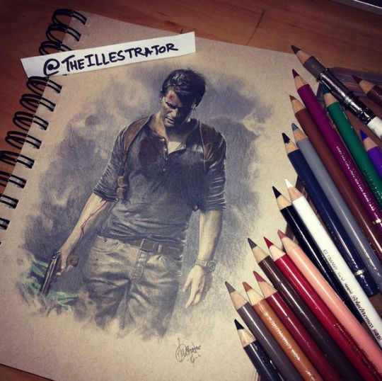 Uncharted drawing. This beautiful image captured my eye because it involves two things that I love; Uncharted and drawing.